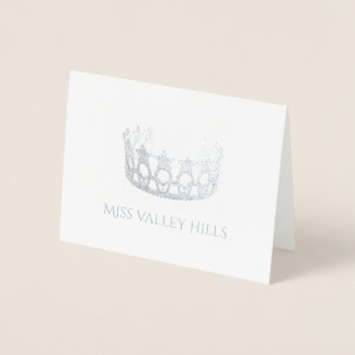 Miss USA Style Silver Foil Crown Note Card-Sm Foil Card