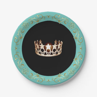Miss USA Turquoise Gold Crown Paper Plates