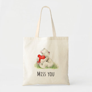 Miss you bear hug watercolor art bag