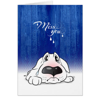 """Miss you"" Bull Terrier Cartoon Card"