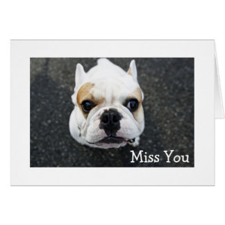 Miss You Bulldog Greeting Card - Verse