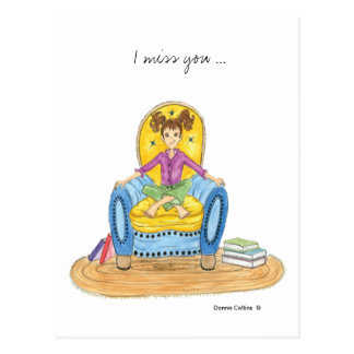 Miss you girl in blue chair postcard
