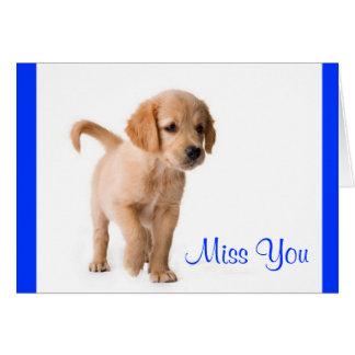 Miss You Golden Retriever Puppy Dog Greeting Card