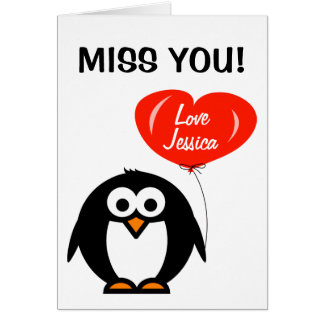 Miss you greeting card | penguin with red balloon