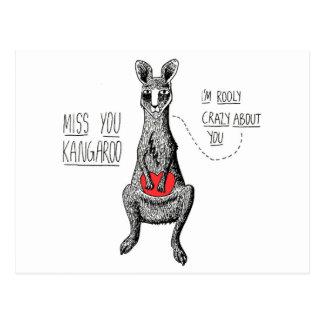 Miss You Kangaroo Postcard