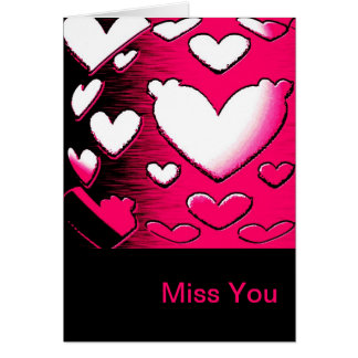Miss You Romantic Pink Hearts Greeting Card