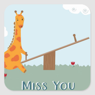 Miss You Square Sticker