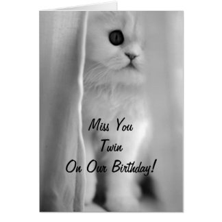 MISS YOU TWIN ON OUR BIRTHDAY-SAD KITTEN CARD
