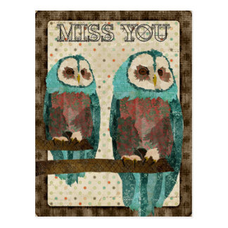 Miss You Vintage Azure Owl Postcard