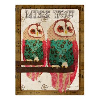Miss You Vintage Rosa Owl Postcard