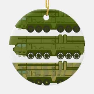 Missile carrier vector round ceramic decoration