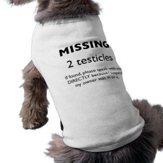Missing: 2 Testicles Dog Shirt