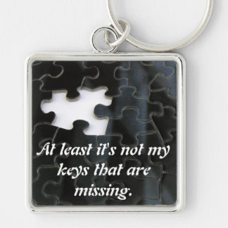 Missing Puzzle Piece Silver-Colored Square Key Ring