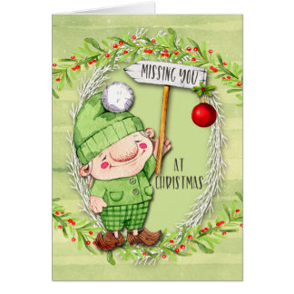 Missing You at Christmas Cute Fairy Gnome Card