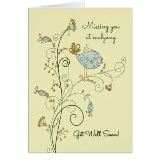 Missing You at Mahjong-Get Well Soon Greeting Card