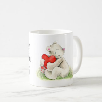 Missing you bear heart hug watercolor art mug