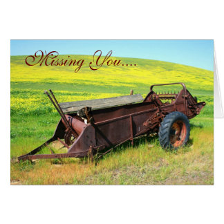Missing You Boxer Dog on the Prairie greeting card