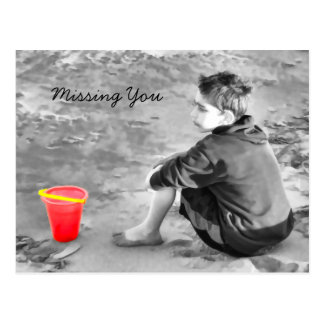 Missing You Boy At Beach With Bucket Post Card