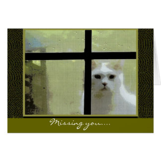 Missing You - Cat at Window Card