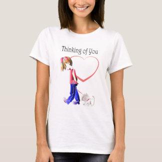 Missing You, cute Boy walking dog art T-Shirt