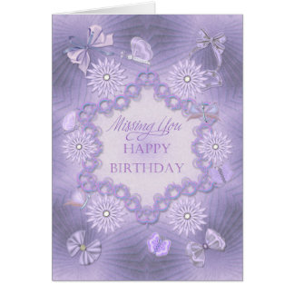 Missing you dreamy lilac card with flowers