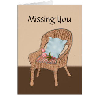 Missing You, Empty Chair with Tulips on Cushion Card