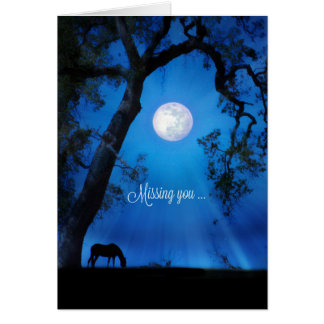 Missing You Horse in Moonlight Card