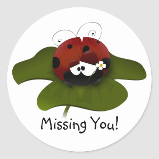 Missing You Ladybug Classic Round Sticker