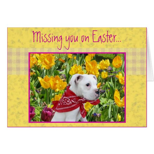 Missing you on Easter boxer puppy greeting card