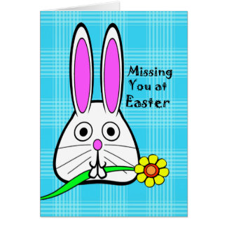 Missing You on Easter, Cute Rabbit with Flower Greeting Card