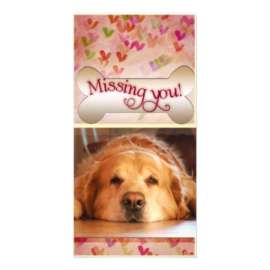 Missing you on Valentine's day photo template Custom Photo Card