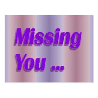 missing you purple postcard