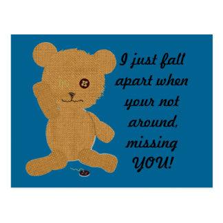 Missing You Teddy Postcard