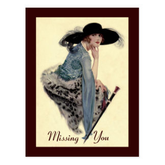 Missing You Twenties Glamour Postcard