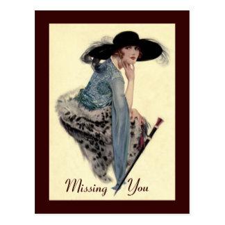 Missing You Twenties Glamour Postcard