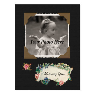 Missing You Vintage Photo Scrapbook Postcard