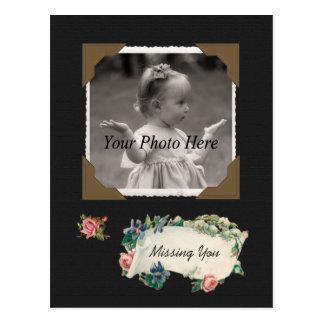 Missing You Vintage Photo Scrapbook Post Card