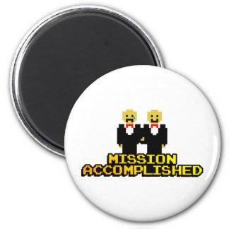 """Mission Accomplished"" Marriage (Gay, 8-bit) Fridge Magnet"
