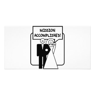 """""""Mission Accomplished"""" Marriage Photo Card Template"""