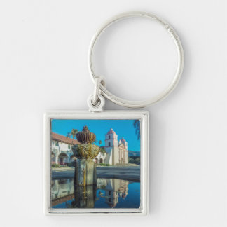 Mission Santa Barbara Silver-Colored Square Key Ring