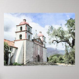 Mission Santa Barbara Watercolor Print