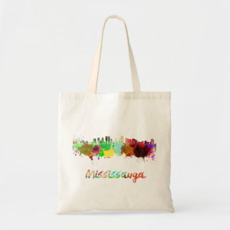 Mississauga skyline in watercolor tote bag