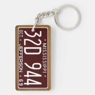 Mississippi 1969 Vintage License Plate Keychain