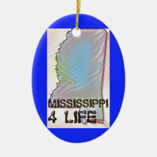 """Mississippi 4 Life"" State Map Pride Design Ceramic Ornament"