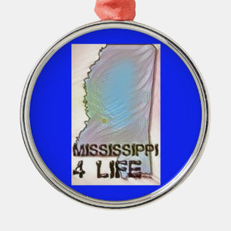 """Mississippi 4 Life"" State Map Pride Design Metal Ornament"