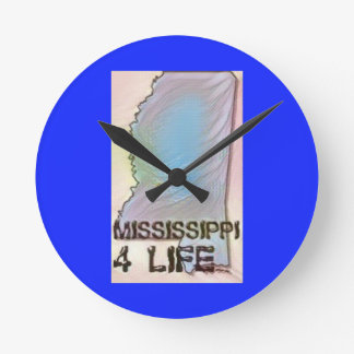 """Mississippi 4 Life"" State Map Pride Design Round Clock"
