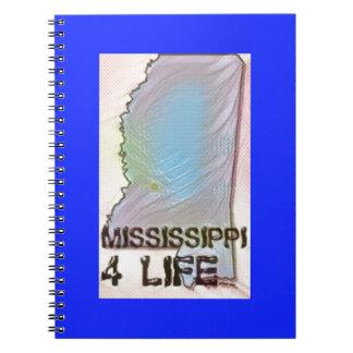 """Mississippi 4 Life"" State Map Pride Design Spiral Note Book"