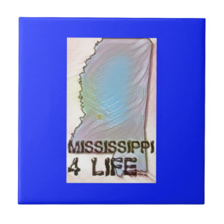 """Mississippi 4 Life"" State Map Pride Design Tile"