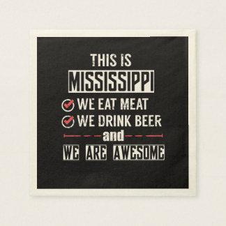 Mississippi Eat Meat Drink Beer Awesome Paper Napkins