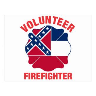 Mississippi Flag Volunteer Firefighter Cross Post Cards